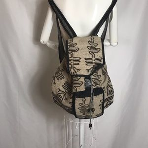 Boho, Indian Style back pack Tan/Black